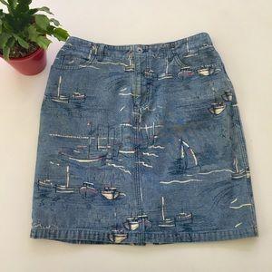 Liz Clairborne jeans skirt boats pattern